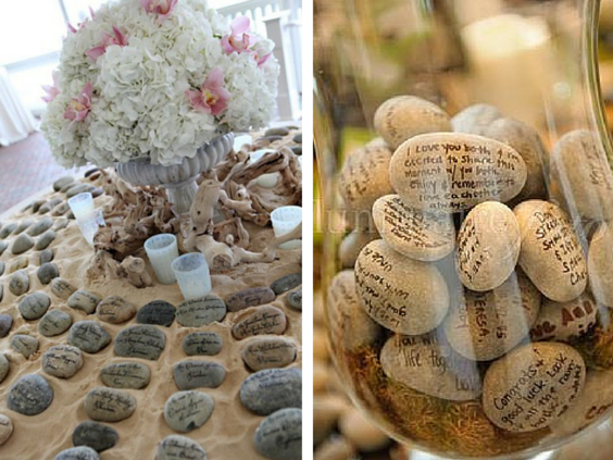 Pebbles for beach themed wedding decorations