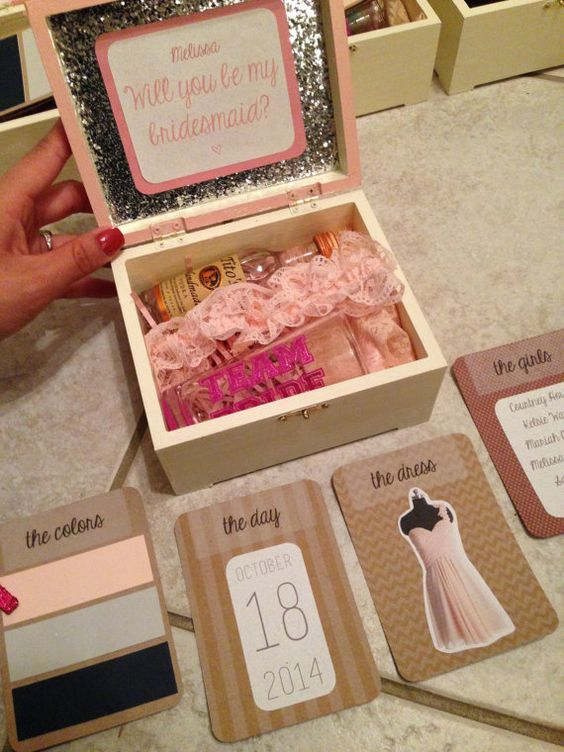 Box with gifts for the bridesmaids