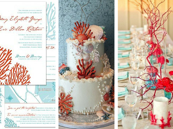 beach themed wedding decor of corals