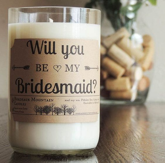 candles as gifts for bridesmaids