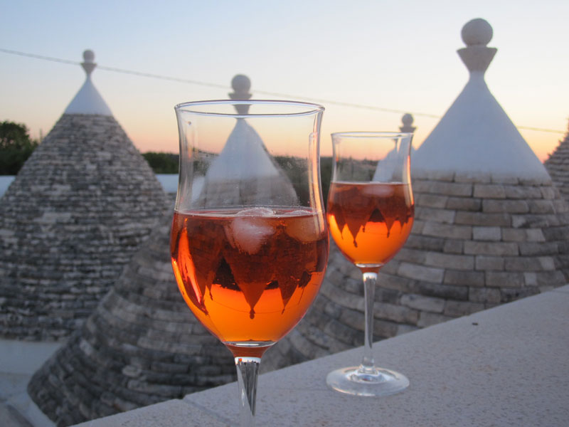 Puglia wine with the view of trulli