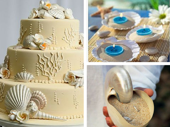 Beach themed wedding sheashell decorations