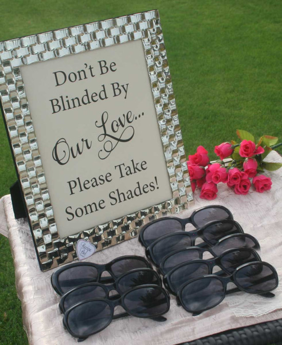 Sunglasses for wedding guests