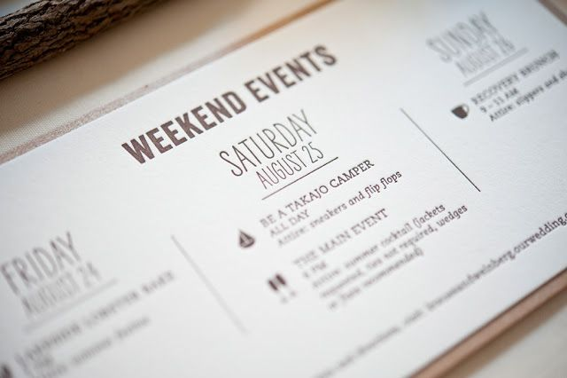 program of a wedding weekend