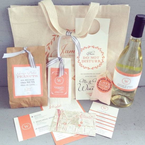Welcome bags for wedding guests