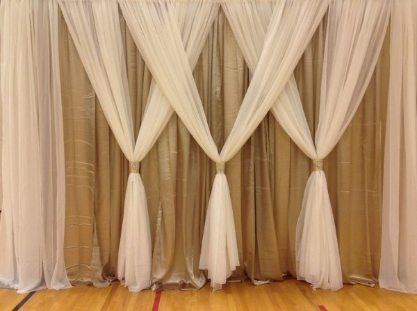 Indoor Backdrop With White Curtains Azweddingdecor