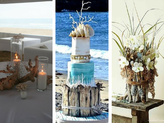 wood pieces for beach themd wedding